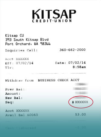 Included is an image of a deposit reciept, illustrating were a survey code is located.